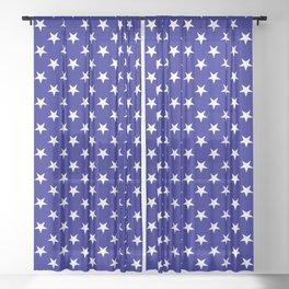 White on Navy Blue Stars Sheer Curtain