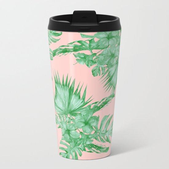 Dreaming of Hawaii Coral Pink + Green Metal Travel Mug