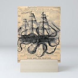 Octopus Kraken attacking Ship Antique Almanac Paper Mini Art Print