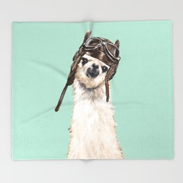 Cool Pilot Llama Throw Blanket