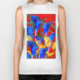 YELLOW & AZURE BLUE CALLA LILIES RED ART Biker Tank