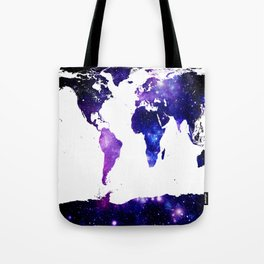world map. (Blue Purple Galaxy) Tote Bag