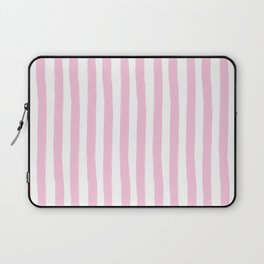 Pink and White Cabana Stripes Palm Beach Preppy Laptop Sleeve