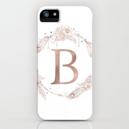 Letter B Rose Gold Pink Initial Monogram iPhone Case