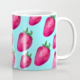 Fun Summery Strawberry Print With Light Blue Background! (Large Scale) Coffee Mug