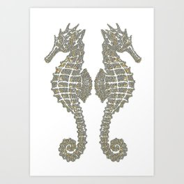 Vintage Tribal Sea Horses Art Print
