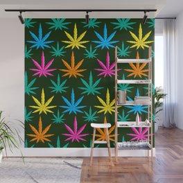 Colorful Marijuana weed Wall Mural