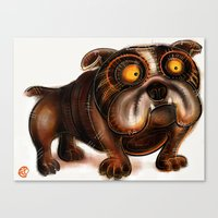 bulldog Canvas Prints featuring Bulldog by Riccardo Pertici