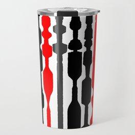 red black grey white geometric striped pattern Travel Mug