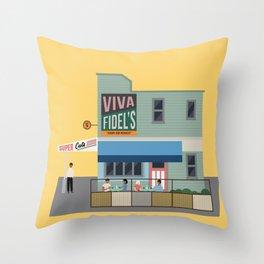 Fidel's Cafe, Cuba Street, Wellington, NZ Throw Pillow