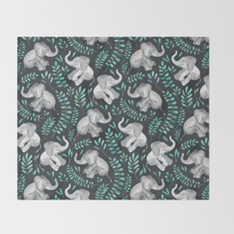 Laughing Baby Elephants – emerald and turquoise Throw Blanket