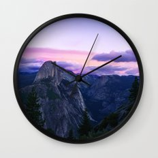 The Mountains and Purple Clouds Wall Clock