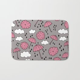Blue umbrella sky rainy day abstract fall illustration pattern pink Bath Mat