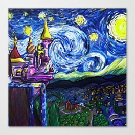 Starry night in small town Canvas Print
