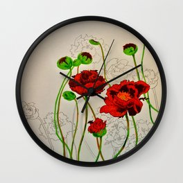 Very Red Flowers Wall Clock