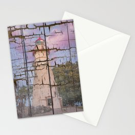 Faux Wood Texture Marblehead Lighthouse at Sunset Coastal Landscape Photo Stationery Cards