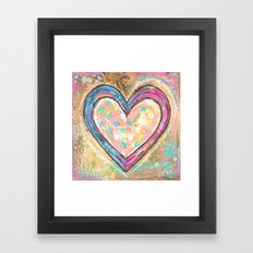 blue and pink hearts Framed Art Print