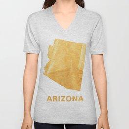 Arizona map outline Sunny yellow watercolor Unisex V-Neck