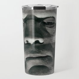 Frankenstein, vintage movie poster, Boris Karloff, horror film, Mary Shelley book cover Travel Mug