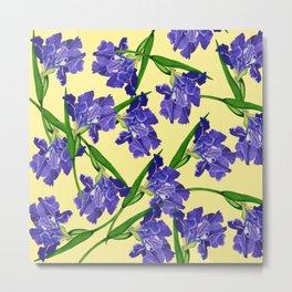 Watercolour Iris on Yellow Metal Print