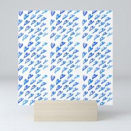 Geometric pattern with hearts - blue Mini Art Print