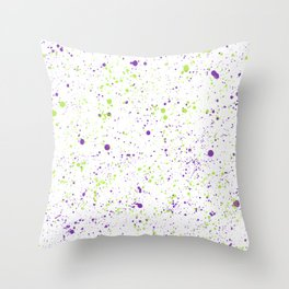 Splatter - Purple Chartreuse Colorway Throw Pillow