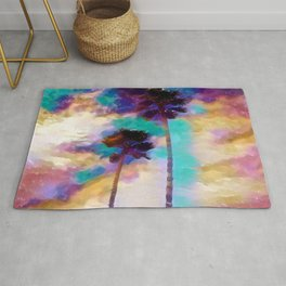 Palm Trees in a Kaleidoscope Sky Rug