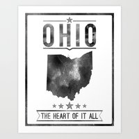 ohio state Art Prints featuring Ohio State Typography Print by Ideate Create Studio