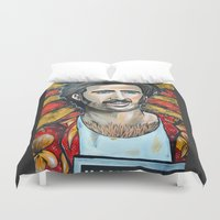 nicolas cage Duvet Covers featuring Raising Arizona Nicolas Cage by Portraits on the Periphery