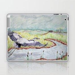Flight of the Great Blue Heron, Trojan Oregon painting Laptop & iPad Skin
