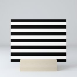 Black and White Medium Stripes Pattern Mini Art Print
