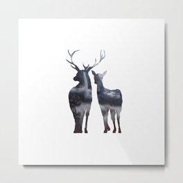 Forest deer family Metal Print