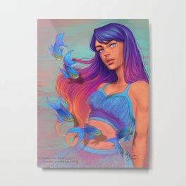 A garota e os peixes Metal Print
