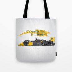 Outline Series N.º5, Ayrton Senna, Lotus 99T-Honda, 1987 Tote Bag