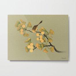 Bird in Ginkgo Tree Metal Print