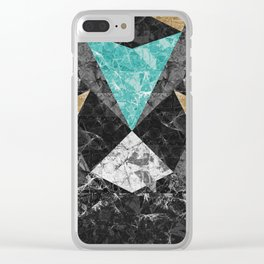 Marble Geometric Background G430 Clear iPhone Case