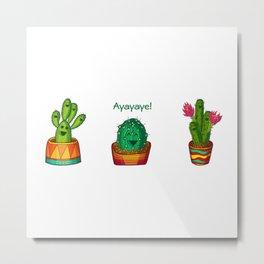 Ayayaye Cactus Trio Metal Print