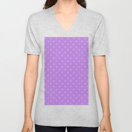 Cotton Candy Pink on Lavender Violet Snowflakes Unisex V-Neck