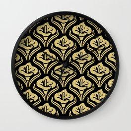 Calla Lily Pattern Black and Gold Wall Clock