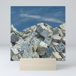 Aluminium Cubes with blue sky Mini Art Print