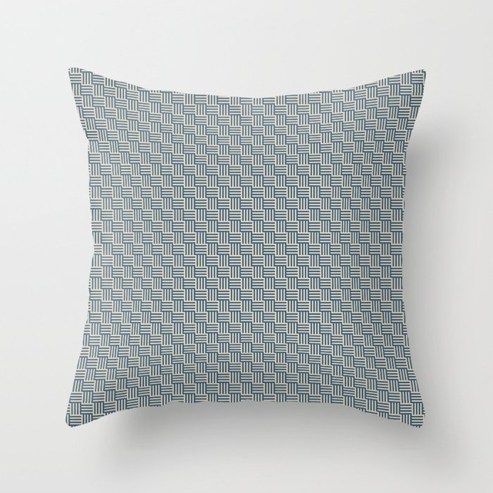 Blue & Beige Grid Tessellation Pattern - 2020 Color of the Year Chinese Porcelain & Alpaca Wool Throw Pillow