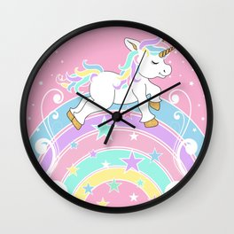 Starry Rainbow Unicorn Wall Clock