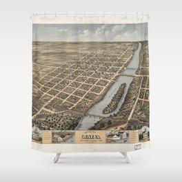 Bird's Eye View of Geneva, Illinois (1869) Shower Curtain