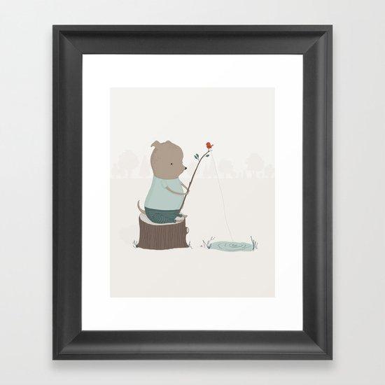 Oliver Goes Fishing Framed Art Print