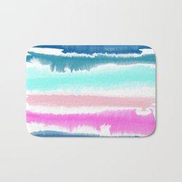 Modern hand painted watercolor pink blue stripes pattern Bath Mat