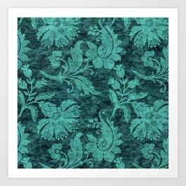 Burgundy Turquoise Velvet Floral Pattern 09 Art Print