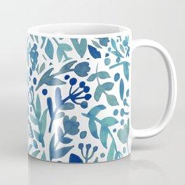 Watercolor blue plants Coffee Mug