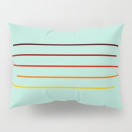 Minimal Abstract Colorful Stripes On Green Pillow Sham