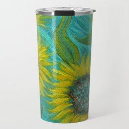 Sunflower Abstract on Turquoise I Travel Mug