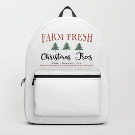 Farm Fresh Christmas Trees Farmhouse sign Rustic Wood Backpack